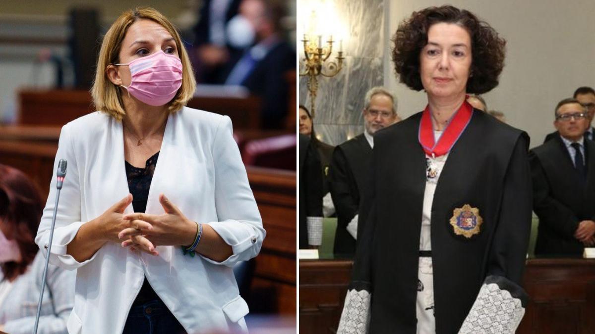 La consejera de Derechos Sociales, Noemí Santana, y la fiscal jefa de Las Palmas, Beatriz Sánchez