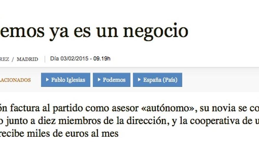 Captura de pantalla de abc.es sobre la información relativa a los salarios de Podemos