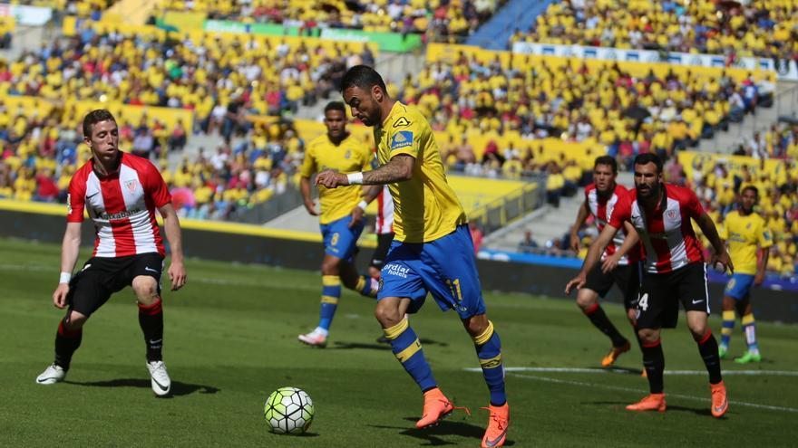 Momo durante el último de partido de Juan Carlos Valerón en el Estadio de Gran Canaria frente al Athletic. (Alejandro Ramos).