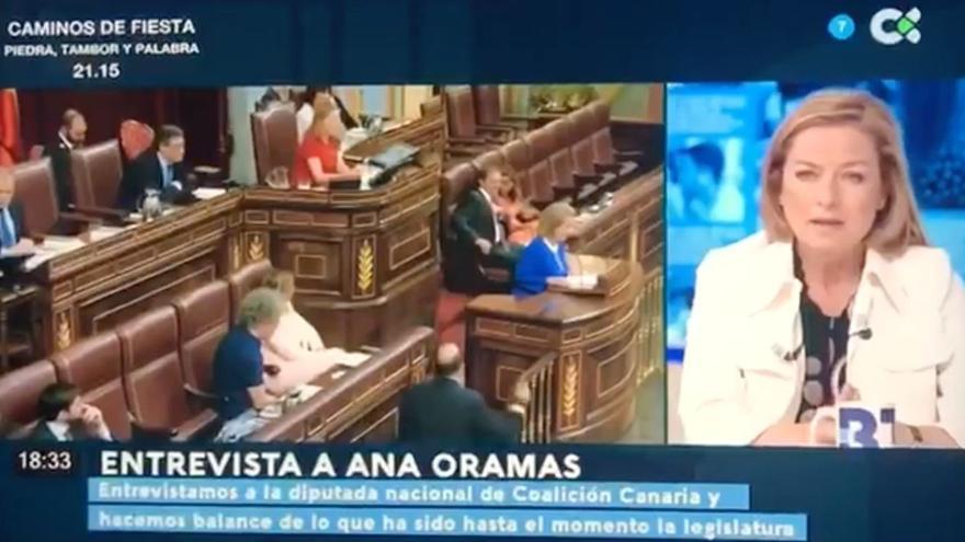 Ana Oramas, durante la entrevista que ha sido retirada
