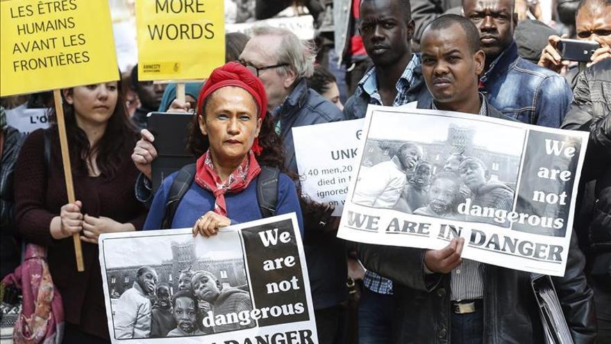 Protesta en Bruselas contra la política migratoria de la Unión Europea. / EFE.