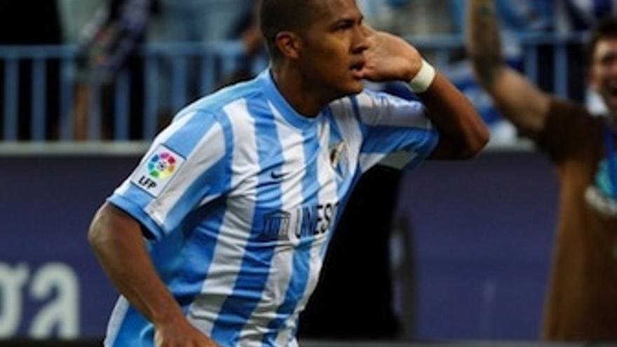 El venezolano celebra uno de sus últimos goles con el Málaga. (malagacf.com)