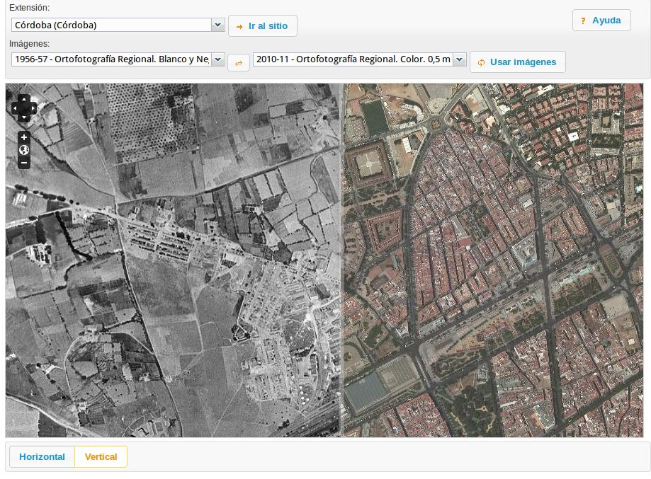 Vista simultánea de la zona oeste de Córdoba en los años 1956-57 y 2011.