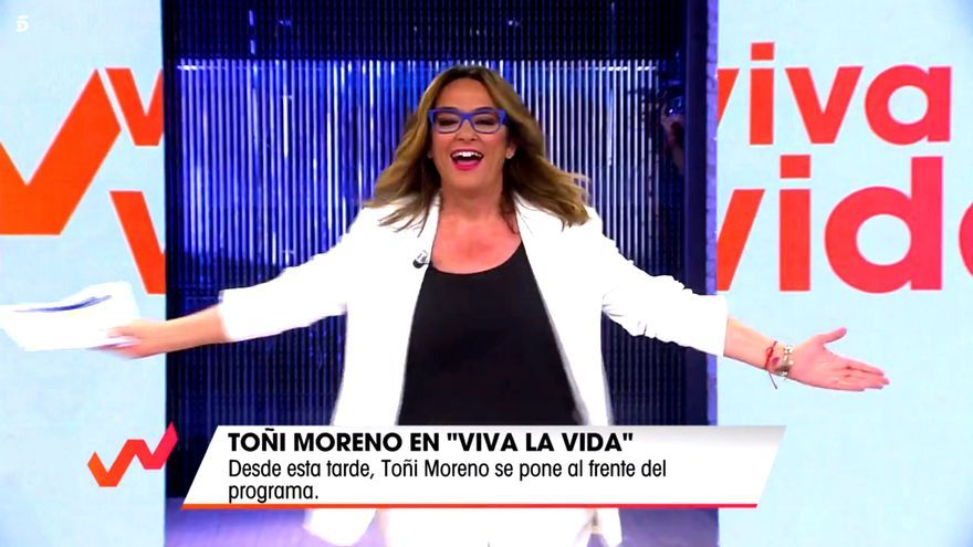 Toñi Moreno al irrumpir en plató
