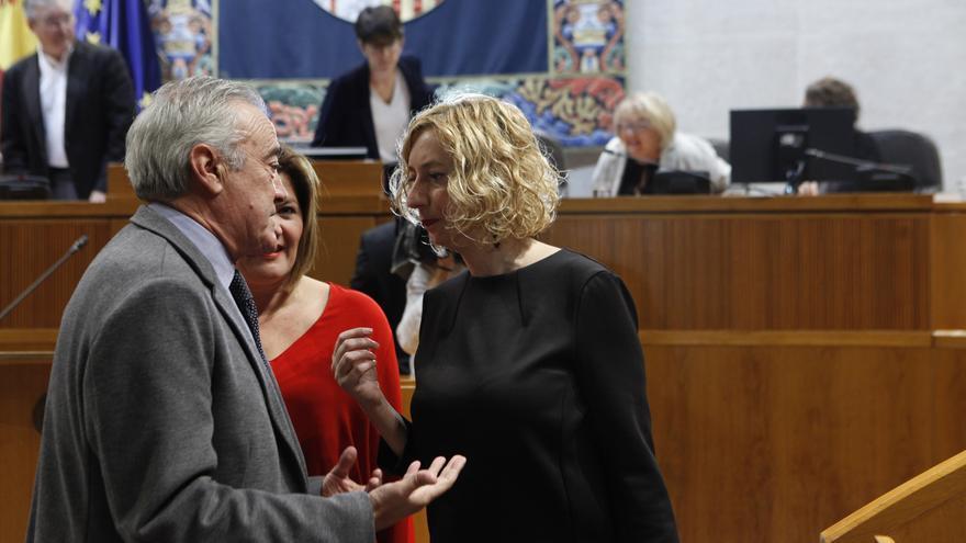 La diputada de IU en las Cortes de Aragón, Patricia Luquin, habla con el portavoz socialista, Javier Sada.