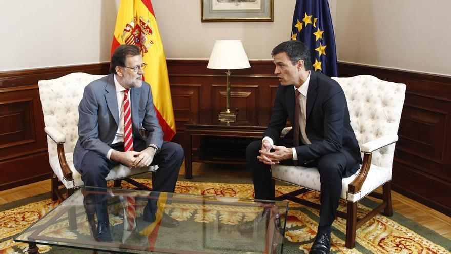 Pedro Sánchez y Mariano Rajoy durante su encuentro este miércoles