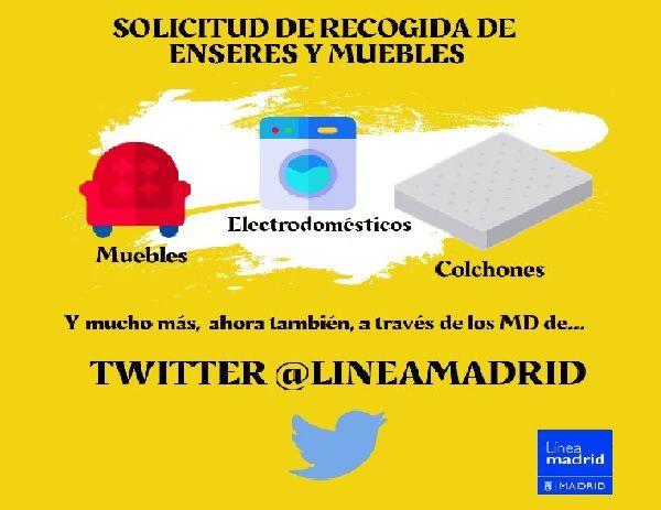 Cartel recogida de enseres y muebles vía Twitter | Ayuntamiento de Madrid