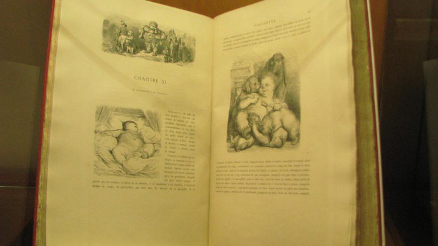 Ejemplar de Gargantúa y Pantagruel ilustrado por Gustave Doré, Museo de la Imprenta.