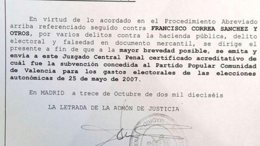 El escrito remitido por la Audiencia Nacional a la Generalitat Valenciana