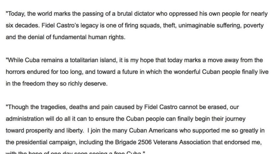 Comunicado de Donald Trump sobre la muerte de Fidel Castro.