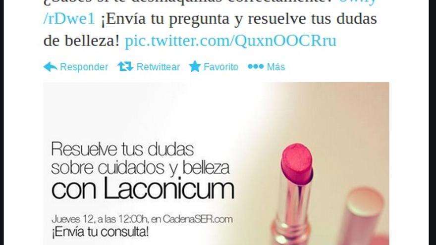 Tuit publicitario de la Cadena SER