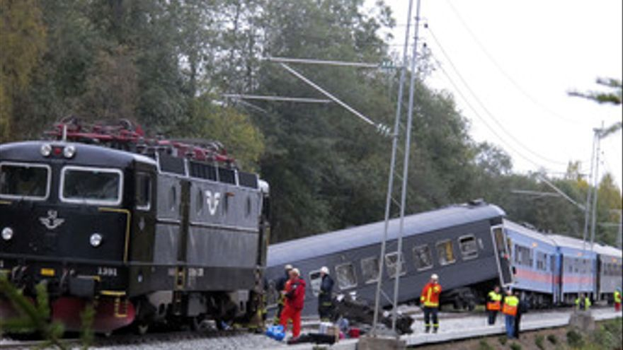 Tren descarrila entre Noruega y Suecia