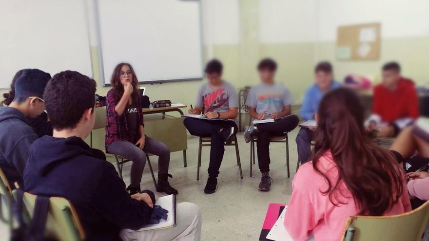 Patricia Figuero en un taller de oratoria.