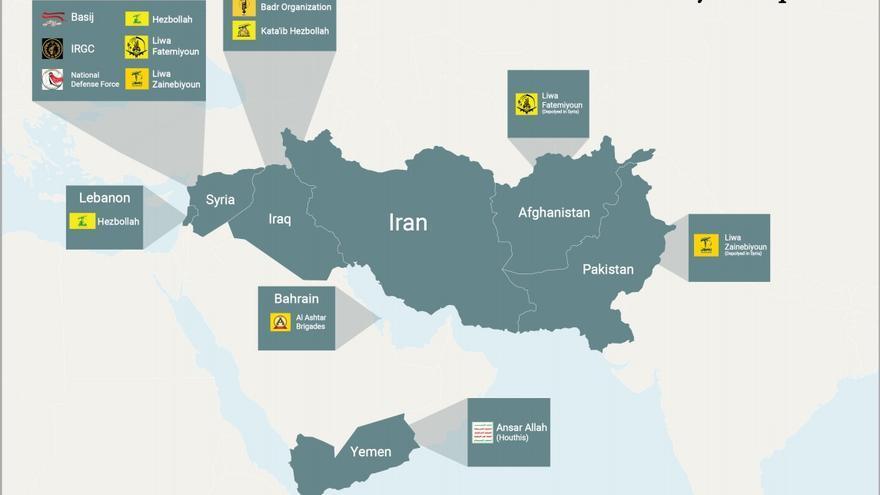 Mapa de la distribución de las principales milicias turcas en Irán