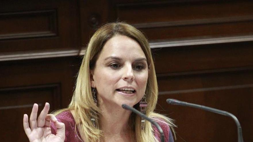 La portavoz del grupo Podemos, Noemí Santana, durante una de sus intervenciones hoy en el pleno del Parlamento de Canarias, donde se debate el presupuesto de la comunidad para 2017.