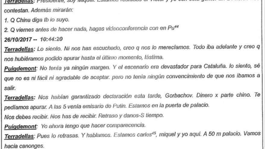 Transcripción de los whatsapps de Terradellas a Puigdemont antes de la DUI