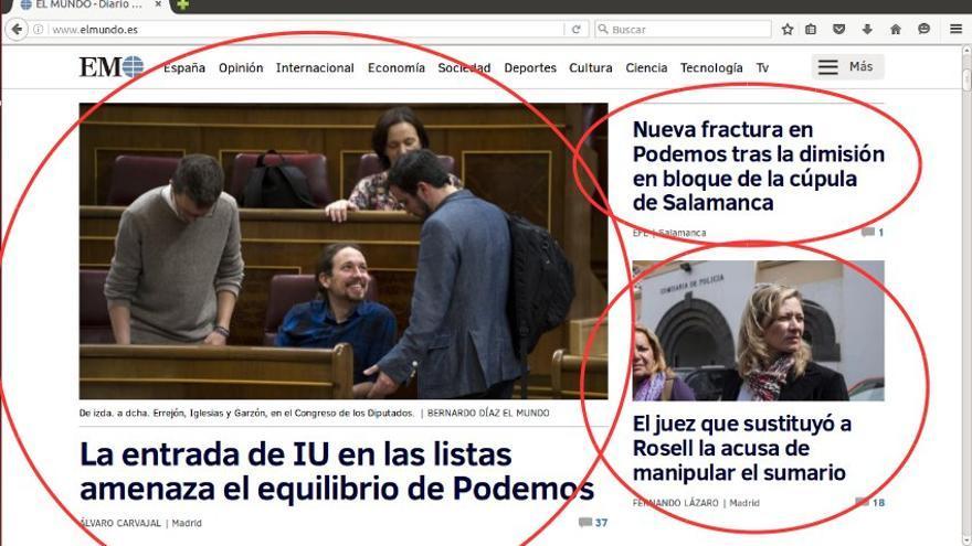 """""""La entrada de IU en las listas amenaza el equilibrio de Podemos"""", en El Mundo"""