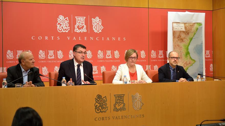 Ramon Ferrer, Enric Morera, María José Salvador y Xavier Navarro en la presenación del Mapa Físico de la Comunitat Valenciana
