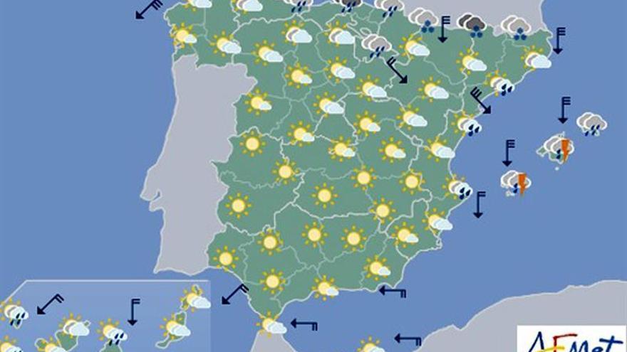 Hoy, viento fuerte en el litoral de Galicia, Pirineos y Menorca