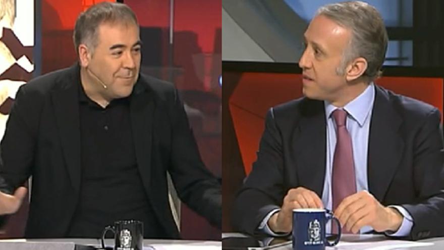 Eduardo Inda (derecha) frente al presentador de 'El rojo vivo', Antonio García Ferreras