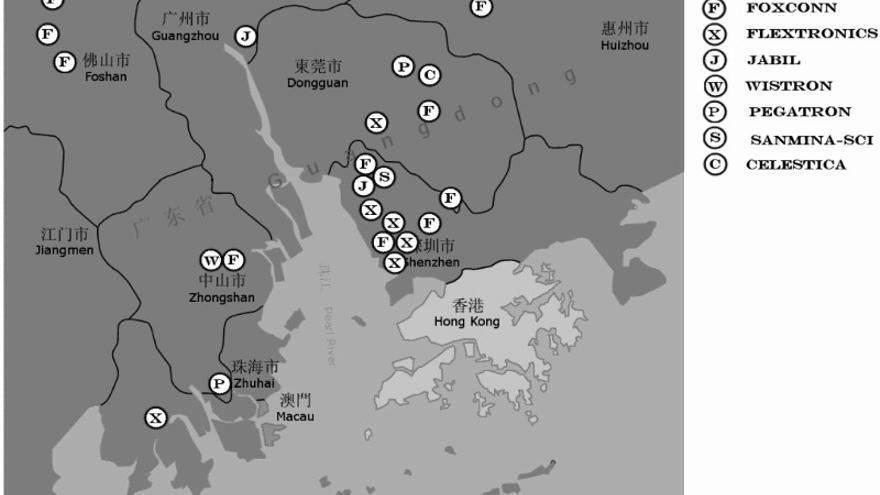 Localización de los complejos industriales de los principales subcontratistas en el delta del río de las Perlas