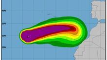 Gráfica de la evolución del ciclón 'Leslie'.