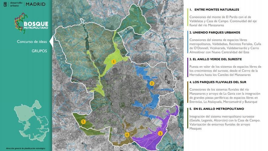 Perímetro proyectado para el bosque metropolitano de Madrid. / Ayuntamiento de Madrid