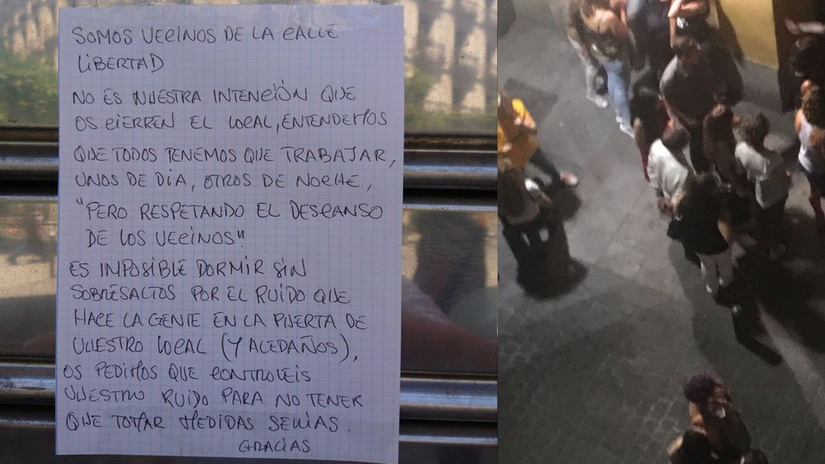 Cartel de denuncia vecinal contra el ruido y clientes de bares de la calle Regueros | AVCHUECA