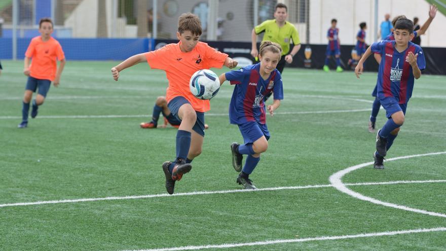 Niños disputan un partido de fútbol 8 en Alicante