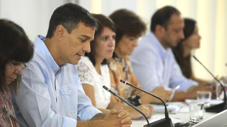 Pedro Sánchez en la reunión de la Ejecutiva del PSOE.