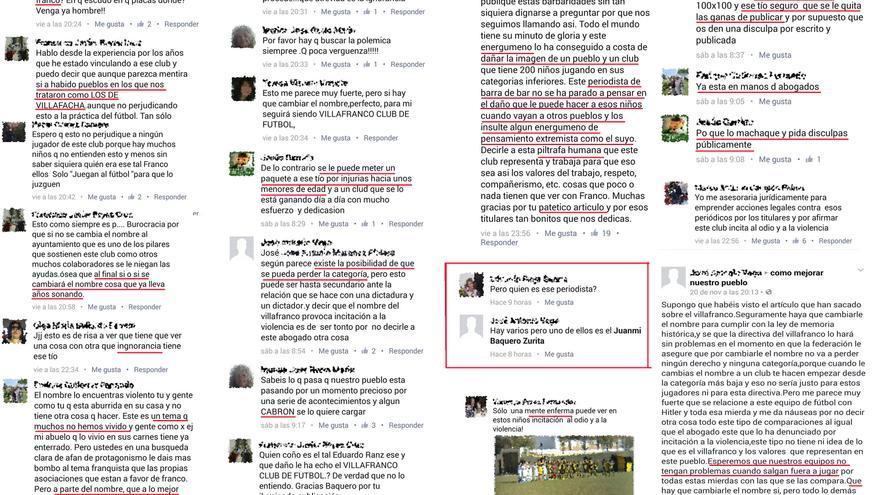 Mensajes ofensivos contra el periodista Juan Miguel Baquero.