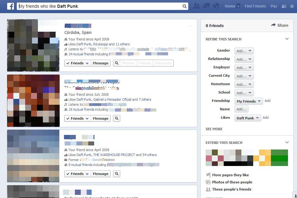 Facebook Open Graph Búsqueda: amigos a los que les gusta Daft Punk