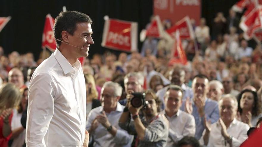 El candidato del PSOE, Pedro Sánchez, en un acto de campaña