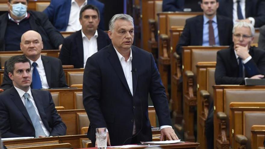 El primer ministro, Víktor Orbán, durante una sesión en el Parlamento húngaro en una imagen de archivo