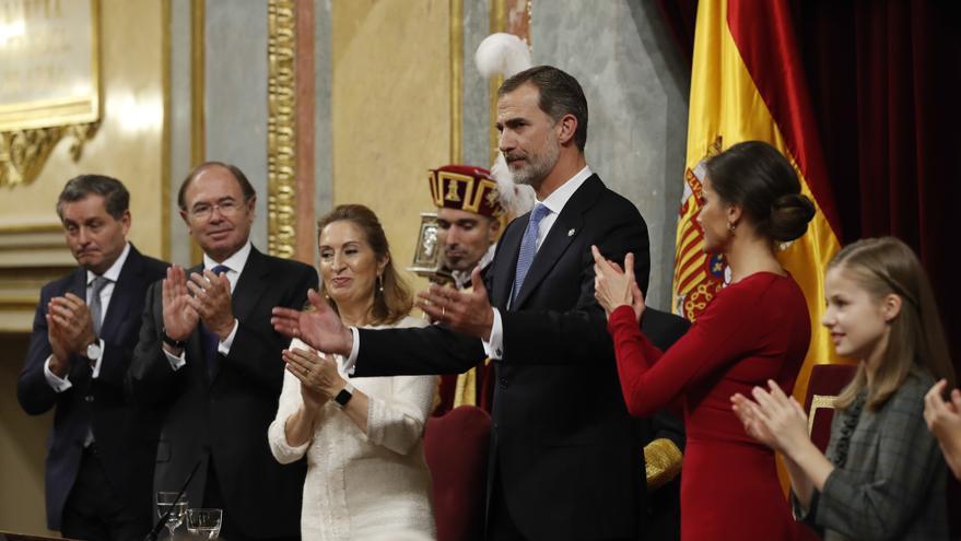 Felipe VI y Letizia Ortiz, en el 40 aniversario de la Constitución en el Congreso, el 6 de diciembre de 1978.