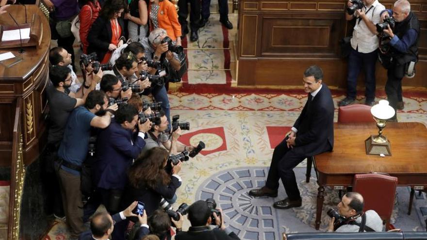 Pedro Sánchez tras la moción de censura de 2018.