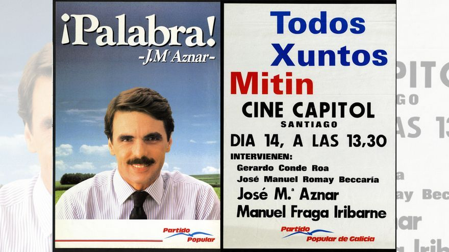 Carteles electorales del PP a finales de los años 80 del siglo pasado