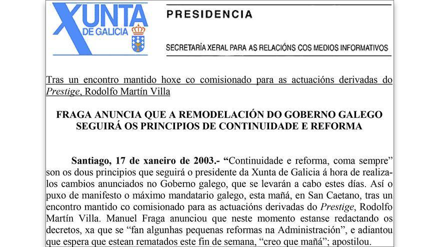 Comunicado de la Xunta sobre la crisis de Gobierno en 2003