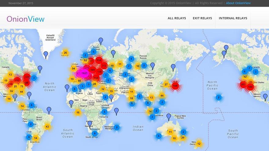 Imágen de Onionreview, proyecto que mapea en tiempo real nodos Tor