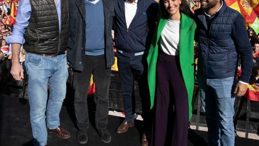 Los principales dirigentes de Vox durante un mitín en la Plaza de Colón de Madrid en octubre de 2019.