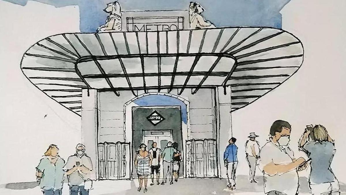 Uno de los dibujos fruto de la última quedada de dibujantes urbanos nada más inaugurarse la estación