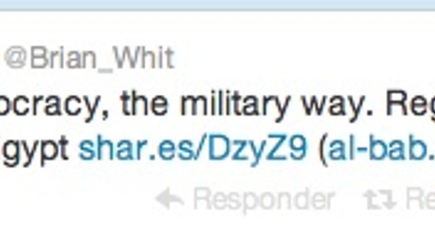 """El periodista Brian Whitaker, escribe """"promoviendo democracia, el estilo militar. El régimen apoya la conferencia de 'una ONG' en El Cairo"""""""