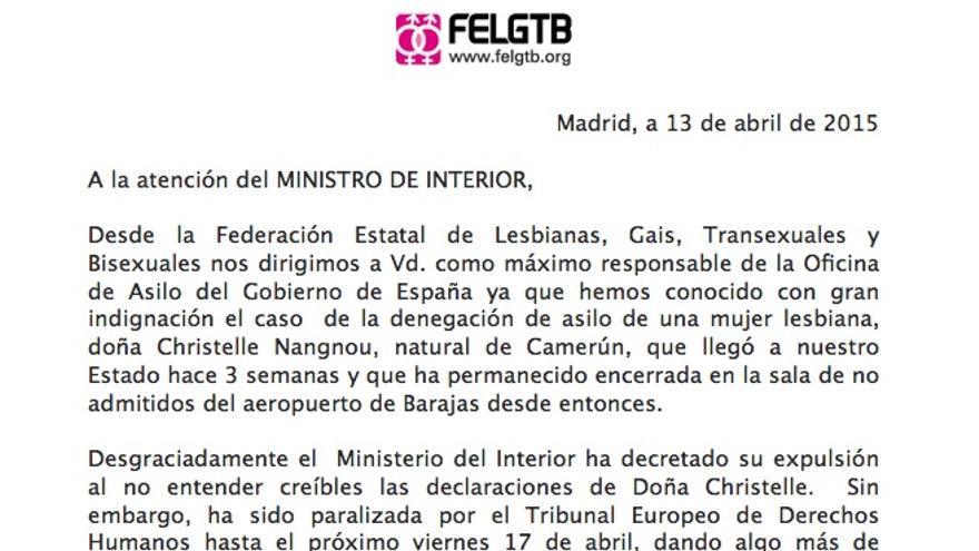 Inicio de la carta enviada al ministro del Interior Fernández Díaz desde la Federación Estatal LGTB