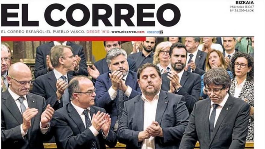 Portada de El Correo del 11 de octubre de 2017.