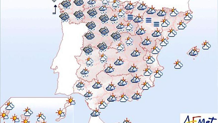 Lluvias en Galicia y Extremadura y viento fuerte en el litoral gallego