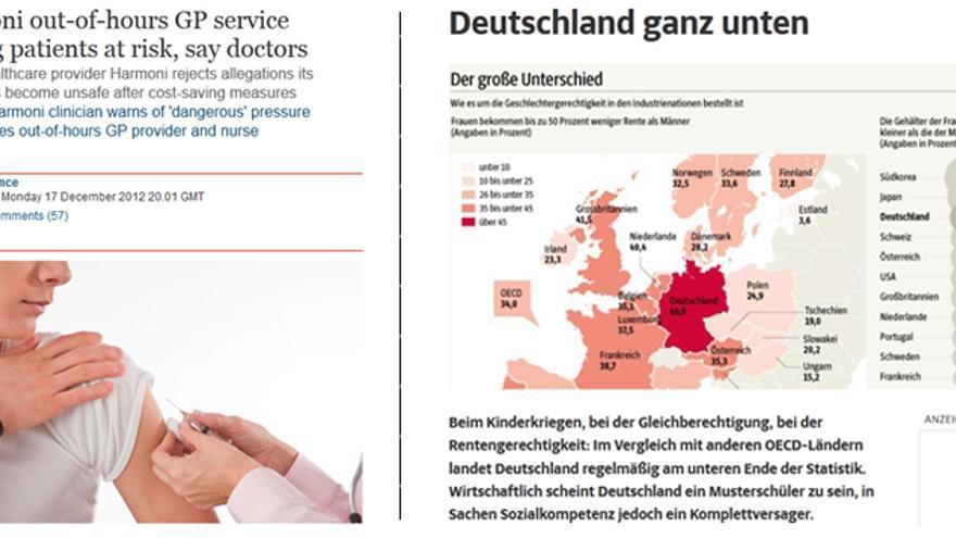 A la izquierda, noticia de The Guardian; a la derecha, noticia del Suddeustche Zeitung.