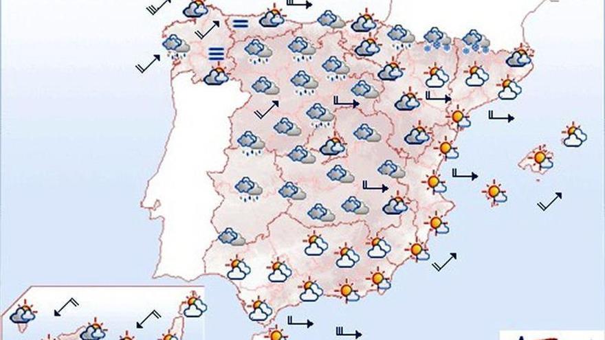 Mañana viento y lluvia en Galicia, Asturias, Alborán y sierras del sudeste