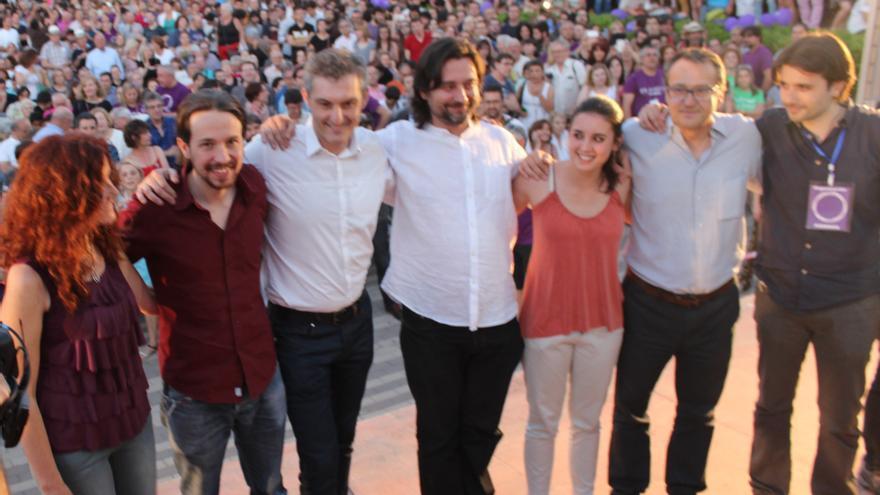Mª Ángeles García, Pablo Iglesias, Óscar Urralburu, Rafa Mayoral, Irene Montero, Toni Carrasco y Javier Sánchez / PSS