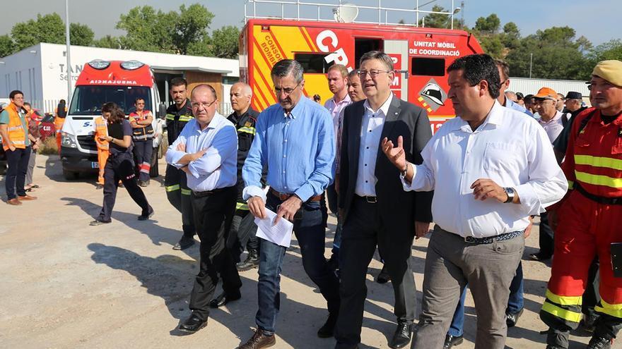 El president de la Generalitat visita el puesto de mando avanzado situado en Artana