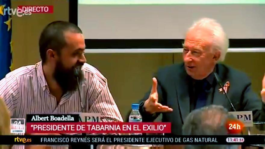"""El rotulo de TVE:  """"Albert Boadella, presidente de Tabarnia en el exilio"""""""